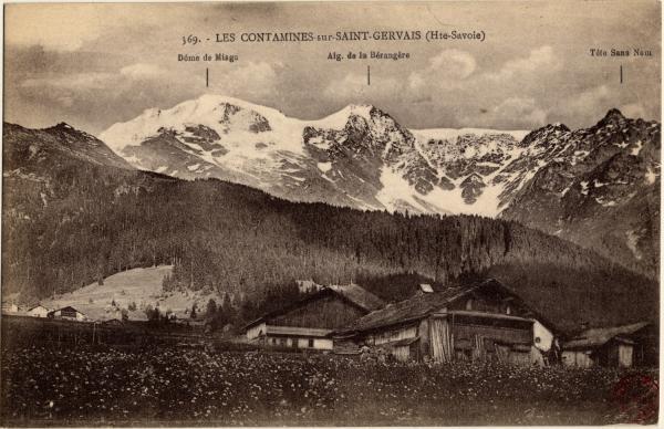 Les Contamines sur St-Gervais (Hte-Savoie) : Dôme de Miage ; Aig. de la Bérangère ; Tête Sans Nom