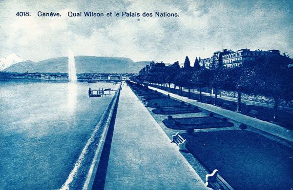 Genève. Quai Wilson et le Palais des Nations