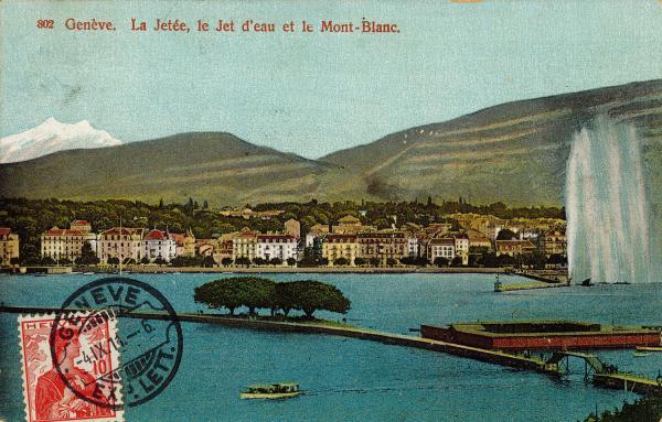 Genève. La Jetée, le Jet d'eau et le Mont-Blanc