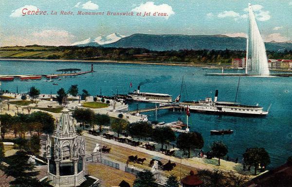 Genève - La rade, Monument Brunswick et Jet d'eau