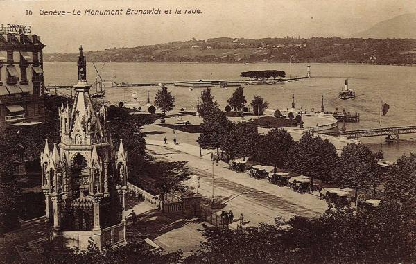 Genève - Le monument Brunswick et la rade