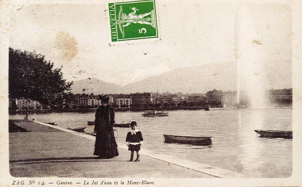 Genève - Le Jet d'eau et le Mont-Blanc