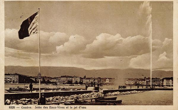 Genève - Jetée des Eaux-Vives et le jet d'eau