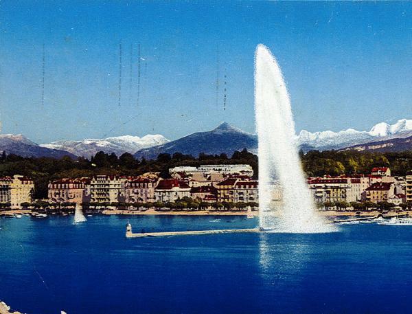 Genève - Jet d'eau (90 m.) et le Mont Blanc