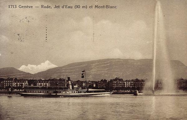 Genève - Rade, Jet d'eau (90 m.) et Mont-Blanc