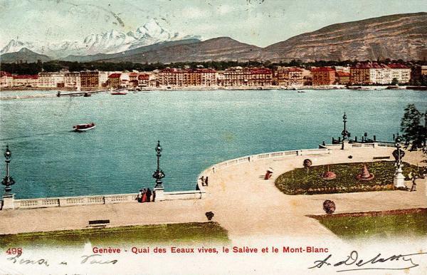 Genève - Quai des Eaux vives, le Salève et le Mont-Blanc