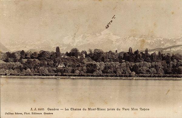 Genève - La chaine du Mont-Blanc prise du Parc Mon Repos