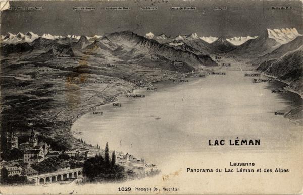Lausanne - Panorama du Lac Léman et des Alpes