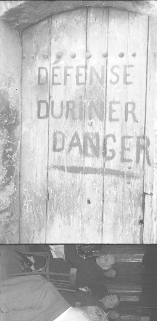 [Image composée : Défense d'uriner, danger]