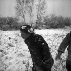 [Des enfants jouent sous la neige]