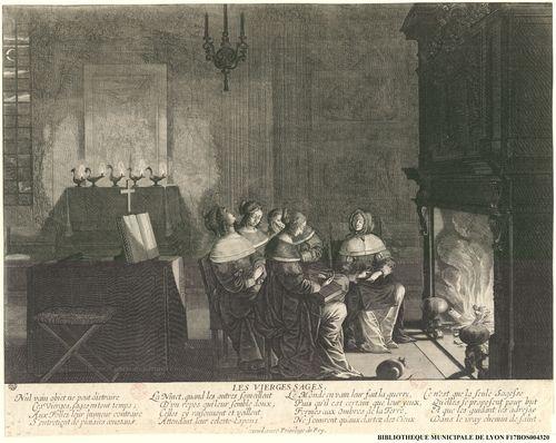 Les vierges sages assises devant une cheminée